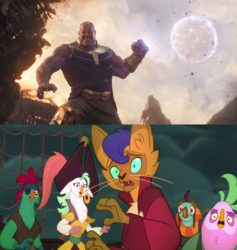 Size: 864x912 | Tagged: abyssinian, anthro, avengers: infinity war, bird, capper dapperpaws, captain celaeno, cat, clothes, crossover, deck, edit, edited screencap, editor:mega-poneo, fear, infinity gauntlet, lix spittle, magic, meme, moon, mullet (character), murdock, my little pony: the movie, parrot pirates, pirate, safe, scared, screencap, squabble, telekinesis, thanos