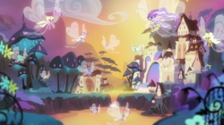 Size: 2100x1180 | Tagged: safe, screencap, breezie, it ain't easy being breezies, breezie world, castle, flying, mushroom, scenery