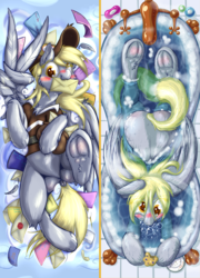 Size: 1491x2067 | Tagged: artist:frist44, bathtub, belly button, blushing, bubble, clothes, dakimakura design, derpy hooves, dock, frog (hoof), letter, mailbag, mouth hold, safe, underhoof, uniform