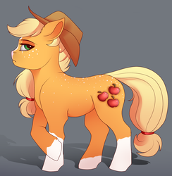 Size: 1281x1315 | Tagged: alternate design, applejack, applejack's hat, artist:evehly, blaze (coat marking), coat markings, cowboy hat, cropped, cute, cutie mark, earth pony, female, freckles, gradient background, hat, looking at you, mare, pony, profile, safe, socks (coat marking), solo