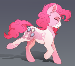 Size: 1368x1203 | Tagged: alternate design, artist:evehly, chest fluff, coat markings, cropped, cute, cutie mark, diapinkes, ear fluff, earth pony, eyes closed, female, gradient background, gray background, leg fluff, mare, :p, pinkie pie, pinto, ponk, pony, profile, safe, smiling, solo, tongue out