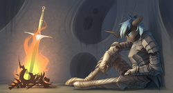 Size: 3996x2160 | Tagged: anthro, armor, artist:underpable, blue changeling, bonfire, changeling, changeling oc, commission, crossover, dark souls, fire, hive, male, oc, oc:kryostasis, oc only, sad, safe, sitting, solo, sword, video game crossover, weapon