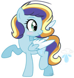 Size: 400x420 | Tagged: artist:catpony13, base used, female, mare, oc, oc:raindrops, offspring, parent:rainbow dash, parent:soarin', parents:soarindash, pegasus, pony, safe, simple background, solo, transparent background, two toned wings, wings