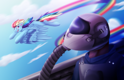 Size: 2063x1336 | Tagged: artist:zara-xx, cloud, cockpit, fighter pilot, flying, human, jet, jet fighter, rainbow dash, rainbow trail, safe, sky, smiling, surprised