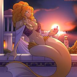 Size: 2000x2000 | Tagged: safe, artist:marik azemus34, adagio dazzle, mermaid, siren, anthro, absolute cleavage, belly button, big breasts, breasts, busty adagio dazzle, cleavage, gem, greek, greek mythology, monster, nail polish, ocean, scales, stupid sexy adagio dazzle, sunset, water