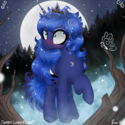 Size: 3000x3000 | Tagged: artist:darkest-lunar-flower, barehoof, blushing, butterfly, crown, dream walker luna, eyeshadow, fairy, female, forest, jewelry, makeup, mare, messy mane, moon, mountain, necklace, pony, princess luna, raised hoof, regalia, safe, shrunken pupils, solo, stars, tree