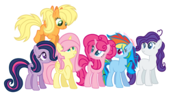 Size: 1024x566 | Tagged: safe, artist:meadowdash101, artist:shiibases, applejack, fluttershy, pinkie pie, rainbow dash, rarity, twilight sparkle, alicorn, earth pony, pegasus, pony, unicorn, alicornified, alternate design, alternate hairstyle, alternate universe, base used, earth pony rainbow dash, earth pony rarity, female, flapplejack, fluttercorn, flying, hair over one eye, hat, hoof on chest, mane six, mare, missing cutie mark, pegasus twilight sparkle, race swap, simple background, smiling, sparkly eyes, transparent background, unicorn pinkie pie, wings