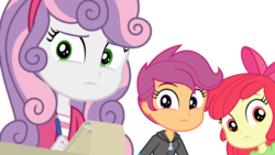 Size: 3286x1848 | Tagged: apple bloom, artist:phucknuckl, concerned, cutie mark crusaders, equestria girls, equestria girls series, happily ever after party, looking at you, notepad, safe, scootaloo, stare, staring at you, staring into your soul, sweetie belle, vector