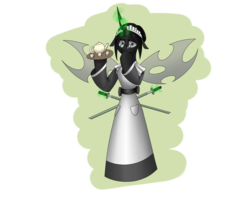 Size: 2560x2048 | Tagged: apron, artist:hugo231929, changeling, changeling queen, changeling queen oc, clothes, female, glowing horn, horn, katana, looking at you, magic, maid, oc, safe, semi-anthro, simple background, smiling, solo, sword, telekinesis, transparent background, weapon, white changeling