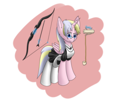 Size: 2560x2048 | Tagged: alicorn, alicorn oc, artist:hugo231929, bow, clothes, food, glasses, looking at you, maid, oc, pony, safe, simple background, solo, tea