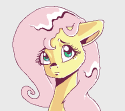 Size: 309x274 | Tagged: artist:smirk, bust, cute, eye clipping through hair, fluttershy, gray background, ms paint, part of a set, pixel art, portrait, safe, shyabetes, simple background, solo