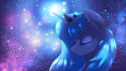 Size: 3556x2000 | Tagged: safe, artist:chebypattern, princess luna, alicorn, pony, blue, eyes closed, female, night, night sky, princess, sky, smiling, solo, space, stars, the cosmos