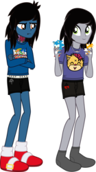 "Size: 1209x2152 | Tagged: annoyed, artist:lightningbolt, boxers, bring me the horizon, clothes, crossed arms, derpibooru exclusive, drop dead clothing, duo, equestria girls, equestria girls-ified, hair over one eye, holding, jewelry, kellin quinn, lip piercing, long sleeves, male, miles ""tails"" prower, necklace, oliver sykes, piercing, plushie, safe, shirt, simple background, sleeping with sirens, slippers, smiling, socks, sonic the hedgehog, sonic the hedgehog (series), standing, svg, .svg available, tattoo, transparent background, t-shirt, underwear, vector"