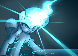 Size: 3200x2313 | Tagged: safe, artist:maren, trixie, pony, unicorn, accessory swap, angry, female, glowing horn, grin, horn, magic, powering up, rage, smiling, solo, teeth, the great and powerful