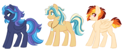 Size: 7000x3000 | Tagged: artist:azure-art-wave, female, male, mare, oc, oc:ember flare, oc only, oc:raincloud song, oc:skychaser, offspring, parent:dumbbell, parent:rainbow dash, parents:dumbdash, pegasus, pony, safe, simple background, stallion, transparent background