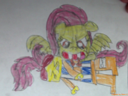 Size: 1196x897 | Tagged: artist:thedrksiren, bat ponified, bat pony, crossover, emmet brickowski, flutterbat, fluttershy, lego, race swap, safe, the lego movie, traditional art
