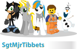 Size: 10152x6423 | Tagged: artist:mommawoof, crossover, earth pony, emmet brickowski, frozen (movie), lego, non-mlp oc, oc, oc:atticus, oc:blur the hedgehog, oc:hunter, olaf, pegasus, pony, safe, simple background, sonic the hedgehog (series), the lego movie, transparent background