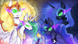 Size: 3840x2160 | Tagged: alicorn, artist:kateponylover, daybreaker, glowing eyes, nightmare moon, pony, princess celestia, princess luna, redraw, safe, scene interpretation, sombra eyes, spoiler:s09e01, the beginning of the end, twilight sparkle, twilight sparkle (alicorn)