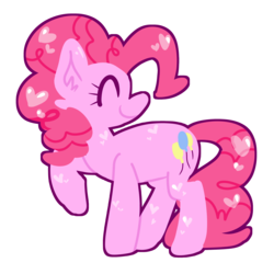 Size: 2500x2500 | Tagged: artist:screamingforest, cute, diapinkes, ear fluff, earth pony, eyes closed, female, heart, mare, pinkie pie, pony, profile, safe, simple background, solo, transparent background