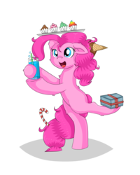 Size: 640x800 | Tagged: artist:vivi04264, back fluff, balancing, bipedal, bubble, candy, candy cane, cheek fluff, chest fluff, cupcake, cute, diapinkes, drink, ear down, ear fluff, earth pony, food, ice cream, leg fluff, on one leg, open mouth, pinkie pie, pony, present, rainbow cupcake, safe, solo, straw