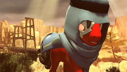 Size: 3840x2160 | Tagged: safe, artist:dj-chopin, oc, oc:red eye, pony, fallout equestria, 4k, desert, fallout, mojave wasteland, solo