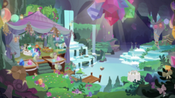 Size: 2100x1180 | Tagged: balloon, bow, cave, cupcake, earth pony, female, food, gem, glowing gems, lantern, male, mare, maud pie, maud's cave, mudbriar, pony, safe, scenery, scenery porn, screencap, spoiler:s09e11, stallion, starlight glimmer, student counsel, sunburst, table, trixie, unicorn, waterfall