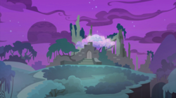 Size: 2100x1180 | Tagged: safe, screencap, student counsel, spoiler:s09e11, castle of the royal pony sisters, cloud, everfree forest, night, no pony, ravine, ruins, tree, treehouse of harmony