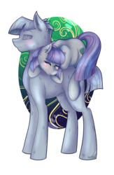 Size: 1823x2800 | Tagged: agalmatophilia, artist:shamy-crist, blushing, earth pony, eyes closed, female, lying on top of someone, male, mare, maudbriar, maud pie, mudbriar, petrification, pony, rock, rockbriar, safe, shipping, spoiler:s09e11, stallion, straight, student counsel, that pony sure does love rocks
