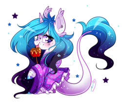 Size: 800x702 | Tagged: safe, artist:ipun, oc, oc:sydney, unicorn, apple, candy apple (food), clothes, colored hooves, deviantart watermark, dress, ethereal mane, female, food, mare, obtrusive watermark, simple background, solo, starry mane, transparent background, watermark