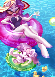 Size: 2067x2894 | Tagged: safe, artist:holivi, rarity, sweetie belle, unicorn, anthro, unguligrade anthro, armpits, big breasts, breasts, busty rarity, clothes, cute, diasweetes, duo, female, filly, inflatable, inner tube, legs, mare, one-piece swimsuit, siblings, sisters, swimming pool, swimsuit, water