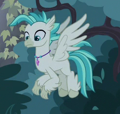 Size: 246x234 | Tagged: safe, screencap, terramar, classical hippogriff, hippogriff, student counsel, spoiler:s09e11, cropped, flying, jewelry, male, necklace, solo
