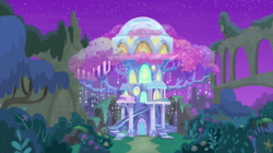 Size: 2100x1180 | Tagged: safe, screencap, student counsel, spoiler:s09e11, castle of the royal pony sisters, crystal, night, no pony, ruins, treehouse of harmony