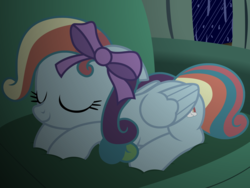 Size: 2386x1794 | Tagged: alternate hairstyle, artist:badumsquish, bow, clone, couch, cute, dashabetes, derpibooru exclusive, female, lying down, mean dashabetes, mean rainbow dash, pegasus, pony, rainbow dash always dresses in style, safe, show accurate, sitting, sleeping, smiling, solo, the mean 6, window