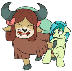 Size: 735x727 | Tagged: artist:bennimarru, blushing, bow, cloven hooves, colored, earth pony, eyes closed, female, flat colors, hair bow, hoof on chest, lidded eyes, male, monkey swings, open mouth, safe, sandbar, she's all yak, shipping, simple background, smiling, spoiler:s09e07, straight, transparent background, yak, yona, yonabar