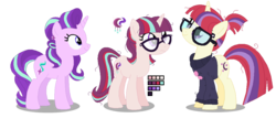 Size: 1054x450 | Tagged: safe, artist:awoomarblesoda, moondancer, starlight glimmer, oc, oc:stardust afterglow, pony, unicorn, base used, female, glasses, glimmerdancer, lesbian, magical lesbian spawn, mare, offspring, parent:moondancer, parent:starlight glimmer, parents:glimmerdancer, shipping, simple background, transparent background