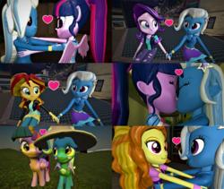 Size: 3840x3240 | Tagged: safe, artist:3d4d, artist:class37boy, adagio dazzle, sci-twi, starlight glimmer, sunset shimmer, trixie, twilight sparkle, alicorn, pony, equestria girls, 3d, female, lesbian, mare, sci-twixie, scitwilicorn, shipping, startrix, suntrix, triagio, trixie gets all the mares, twilight sparkle (alicorn), twixie