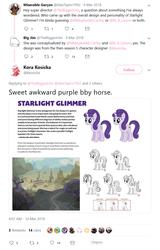 Size: 756x1179   Tagged: safe, starlight glimmer, pony, unicorn, concept art, female, mare, meta, starlight's village, twitter