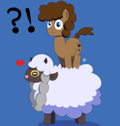 Size: 2190x2300 | Tagged: artist:feralroku, blue background, crossover, exclamation point, heart, interrobang, oc, oc:strong runner, pokémon, pokemon sword and shield, pony, question mark, safe, simple background, wooloo