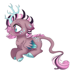 Size: 984x993 | Tagged: antlers, artist:unoriginai, cloven hooves, cute, draconequus, draconequus oc, hybrid, interspecies offspring, magical lesbian spawn, magical threesome spawn, multiple parents, oc, oc only, oc:phosphorus, offspring, parent:discord, parent:fluttershy, parents:twidiscoshy, parent:twilight sparkle, safe, solo