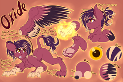 Size: 5000x3356 | Tagged: angry, artist:drizziedoodles, claws, english, gritted teeth, hybrid, leonine tail, magic, oc, oc only, oc:oxide, original species, paw pads, paws, ponytail, reference sheet, safe, sphinx, talons, text, toe beans, wings