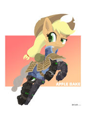 Size: 1414x2000   Tagged: safe, artist:satv12, applejack, earth pony, pony, applejack's hat, armor, cowboy hat, female, hat, jumping, simple background, solo, text, white background