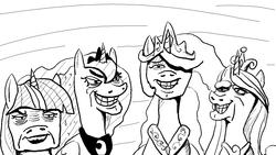 Size: 1095x616   Tagged: safe, artist:silence, princess cadance, princess celestia, princess luna, twilight sparkle, alicorn, pony, 60s spider-man, alicorn tetrarchy, are you a princess too, me and the boys, meme, monochrome, twilight sparkle (alicorn)