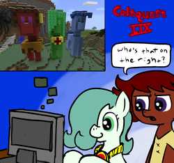 Size: 640x600 | Tagged: artist:ficficponyfic, artist:psker, clothes, cloud, color, colt, colt quest, computer, earth pony, female, filly, foal, game screencap, group photo, horn, jewelry, leggings, magic, male, minecraft, mine little pony, necklace, oc, oc:emerald jewel, oc:ruby rouge, one of these things is not like the others, pony, recap, safe, shirt, snow, statue, story included, title, title card, tree, trixie, unicorn