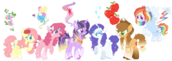 Size: 1723x623 | Tagged: alicorn, alternate cutie mark, alternate design, applejack, applejack's hat, artist:dashkatortik12222222, artist:strawberry-spritz, base used, beautiful, bow, coat markings, colored hooves, colored wings, cowboy hat, crown, curly hair, cutie mark, ear piercing, earring, earth pony, female, flower, flower in hair, fluttershy, flying, freckles, happy, hat, heart eyes, jewelry, lidded eyes, mane six, mare, open mouth, pegasus, piercing, pigtails, pinkie pie, pony, rainbow dash, raised hoof, rarity, redesign, regalia, safe, simple background, smiling, sparkles, sparkly mane, transparent background, twilight sparkle, twilight sparkle (alicorn), unicorn, wingding eyes, wings