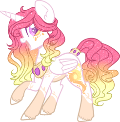 Size: 760x773 | Tagged: alicorn, alternate design, artist:dashkatortik12222222, artist:lullabyprince, base used, beautiful, coat markings, colored hooves, ear fluff, female, jewelry, leg fluff, looking at you, mare, open mouth, pony, princess celestia, raised hoof, redesign, regalia, safe, simple background, smiling, solo, sparkles, sparkly mane, transparent background