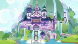 Size: 1280x720   Tagged: safe, screencap, student counsel, castle, exterior, no pony, school of friendship
