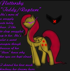 Size: 600x608 | Tagged: alternate timeline, artist:sinsays, ask corrupted twilight sparkle, color change, corrupted, corrupted element of harmony, corrupted element of kindness, corrupted fluttershy, corrupted twilight sparkle, dark, darkened coat, darkened hair, dark equestria, dark magic, dark world, element of kindness, eyes closed, female, fluttershy, glowing eyes, magic, mind control, part of a series, part of a set, pegasus, pony, possessed, rapture, safe, solo, sombra empire, sombra eyes, sombrafied, teddy, teddy bear, tumblr, tumblr:ask corrupted twilight sparkle