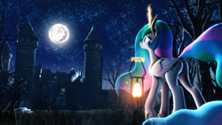 Size: 3840x2160 | Tagged: safe, artist:psfmer, princess celestia, pony, 3d, 4k, banner, butt, castle, castle of the royal pony sisters, female, grass, implied princess luna, lantern, magic, mare in the moon, moon, moonlight, plot, ruins, solo, source filmmaker, stars, wallpaper