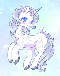 Size: 600x760 | Tagged: safe, artist:tsukuda, princess silver swirl, pony, unicorn, blushing, bow, cute, diasilvers, female, g2, mare, solo, tail bow