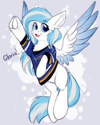 Size: 2000x2500   Tagged: safe, artist:alphadesu, oc, oc:contrail skies, pony, champions, clothes, female, gloria, hockey, ice hockey, jersey, laura branigan, mare, nhl, sports, st. louis blues, stanley cup, trans mare
